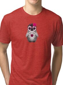 Pink Day of the Dead Sugar Skull Penguin  Tri-blend T-Shirt