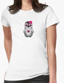 Pink Day of the Dead Sugar Skull Penguin  Womens Fitted T-Shirt