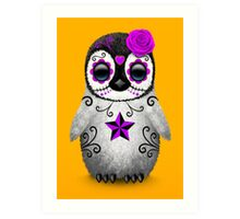 Purple Day of the Dead Sugar Skull Penguin  Art Print