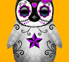 Purple Day of the Dead Sugar Skull Penguin  by Jeff Bartels