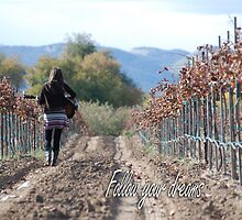 Girl and guitar in vineyard by LisaRent