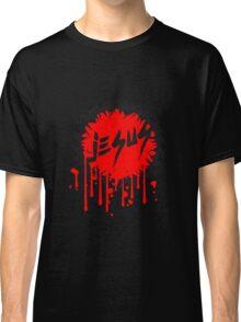 horror blut tropfen farbe text schrift kreis ring dornen krone jesus christus cool design rund könig  Classic T-Shirt