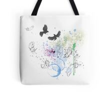 Artistic Birds and Feathers Tote Bag