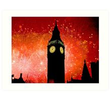Big Ben - New Years Eve Fireworks 2010 -  2011 - HDR Art Print