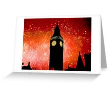 Big Ben - New Years Eve Fireworks 2010 -  2011 - HDR Greeting Card