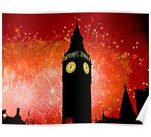 Big Ben - New Years Eve Fireworks 2010 -  2011 - HDR Poster