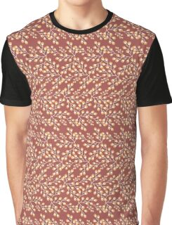 Dainty Flower Print in Red Brown, Yellow, and Orange Graphic T-Shirt