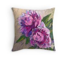 Two pink peonies in a vase Throw Pillow