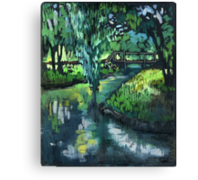 Late spring landscape with river Likhoborka and a willow tree Canvas Print