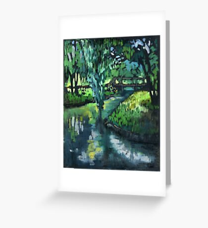 Late spring landscape with river Likhoborka and a willow tree Greeting Card