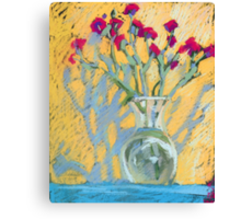 Still life with carnations in a vase Canvas Print