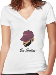Jon Bellion face beautiful mind with text Women's Fitted V-Neck T-Shirt