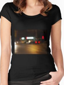 Abstract defocused red and yellow lights Women's Fitted Scoop T-Shirt