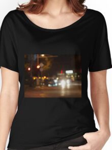 Blur and defocused lights from the headlights of cars Women's Relaxed Fit T-Shirt