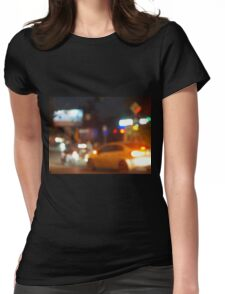 Blur and defocused silhouette of the car and traffic lights Womens Fitted T-Shirt