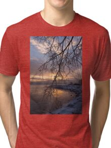 A Curtain of Frozen Branches - Ice Storm Sunrise Tri-blend T-Shirt