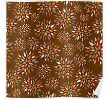 Abstract colorful flowers on brown background. Poster
