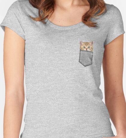 Kitten In Your Pocket Women's Fitted Scoop T-Shirt