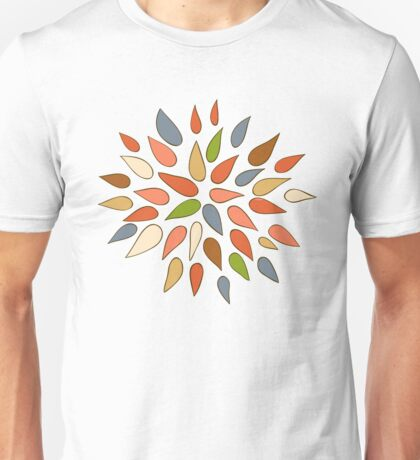 Abstract colorful flowers on black background. Unisex T-Shirt