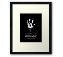White Hand Framed Print