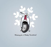 Mod Scooter Snow Flake Christmas Card (Colour) by collibosher