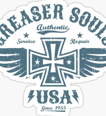 Greaser Iron Cross & Wings Biker Emblem Sticker