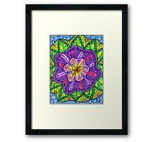 Floral Puzzle Mandala Framed Print