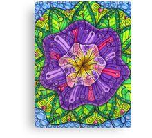 Floral Puzzle Mandala Canvas Print