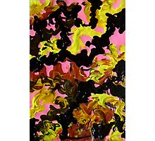 Hectic modern abstract painting Brown Black Pink Yellow Photographic Print