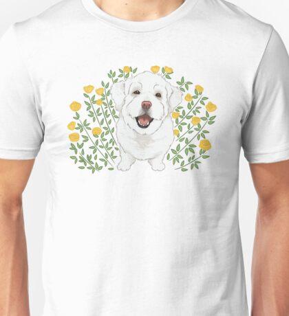 Bichon Frise & Yellow Roses / cute fluffy dog nature  Unisex T-Shirt