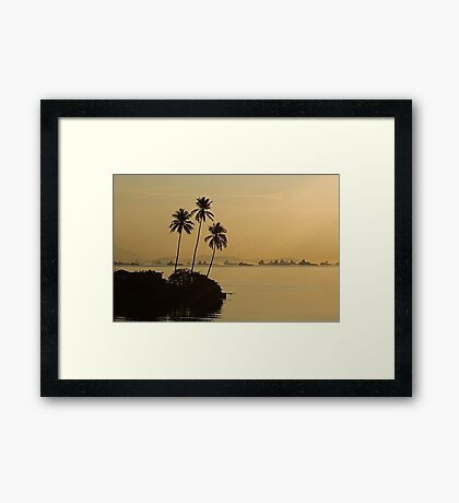 Three Palms in Sunset Framed Print