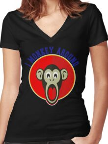 Cute Funny Brown Monkey Around Meme t-Shirts Women's Fitted V-Neck T-Shirt