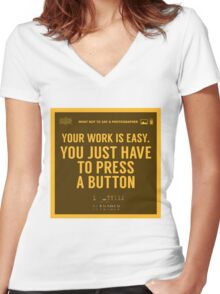 What NOT to Say to a Photographer - your work is easy Women's Fitted V-Neck T-Shirt