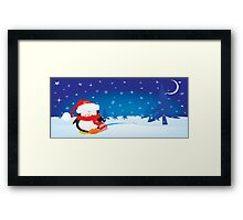 cute little xmas penguin Framed Print