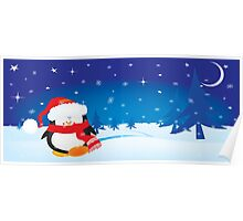 cute little xmas penguin Poster