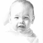 Baby boy in shadow drawing by Mike Theuer