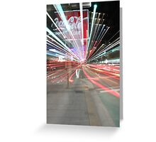 Neon zoom of Kings Cross at night Greeting Card