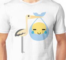 Stork with Baby Emoticon Emoji Teary Eye of Joy Unisex T-Shirt