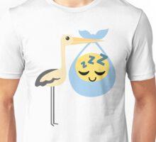 Stork with Baby Emoticon Emoji Tired and Sleep Unisex T-Shirt