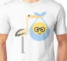 Stork with Baby Emoticon Emoji Nerd Noob Spectacles  Unisex T-Shirt