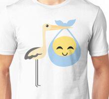 Stork with Baby Emoticon Emoji Cheerful with Joy Unisex T-Shirt