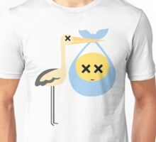 Stork with Baby Emoticon Emoji Faint and Knock Out Look Unisex T-Shirt