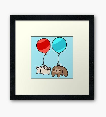 Balloon Sloth and Pug Framed Print