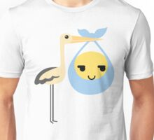 Stork with Baby Emoticon Emoji Sneaky Face Unisex T-Shirt