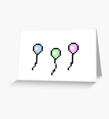 Three Pixel Balloons Greeting Card