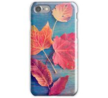 Autumn Leaves on Blue Vintage Table 2 iPhone Case/Skin