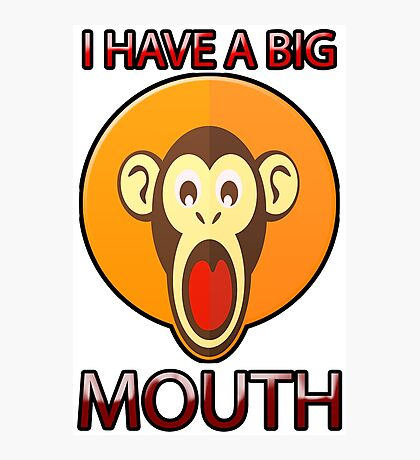 Cute Funny Brown Monkey With Big Open Mouth Meme T-Shirt Photographic Print