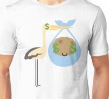 Stork with Baby Cookie Emoji Money Face Unisex T-Shirt
