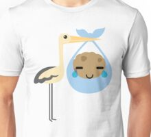 Stork with Baby Cookie Emoji Teary Eyes with Joy Unisex T-Shirt