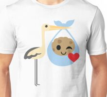 Stork with Baby Cookie Emoji Flirt and Blow Kiss Unisex T-Shirt